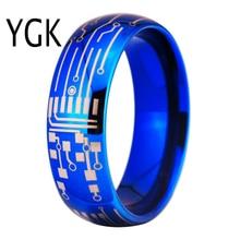 แฟชั่นโรแมนติกงานแต่งงานแหวนสำหรับคนรักสีฟ้าแหวนทังสเตนสำหรับหมั้นเครื่องประดับงานแต่งงาน CIRCUIT BOARD แหวน