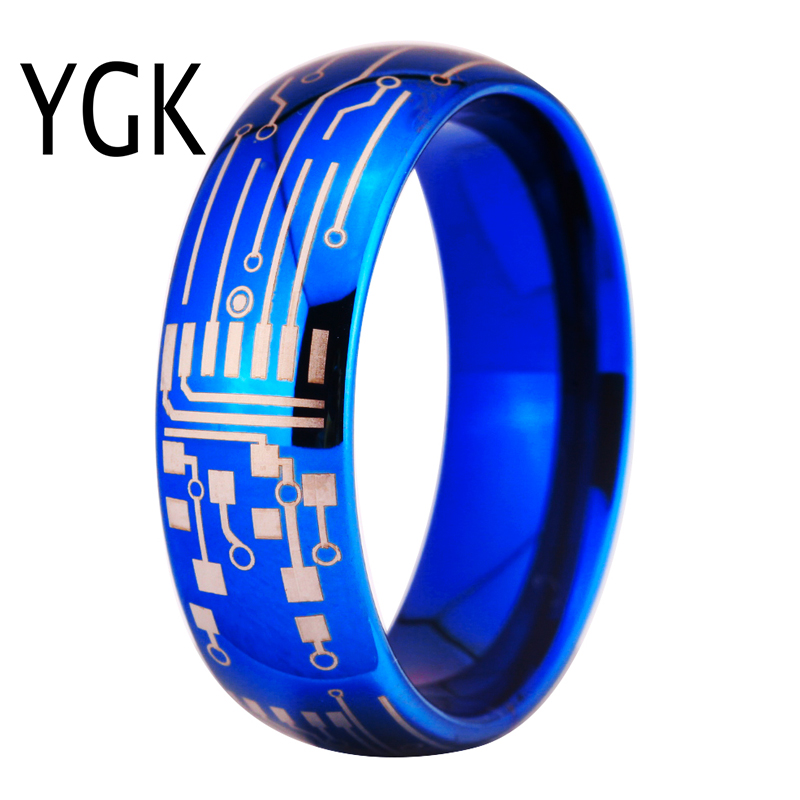 Free Shipping YGK JEWELRY Hot Sales 8MM Shiny Blue Dome CIRCUIT BOARD Design New Men's Fashion Tungsten Ring