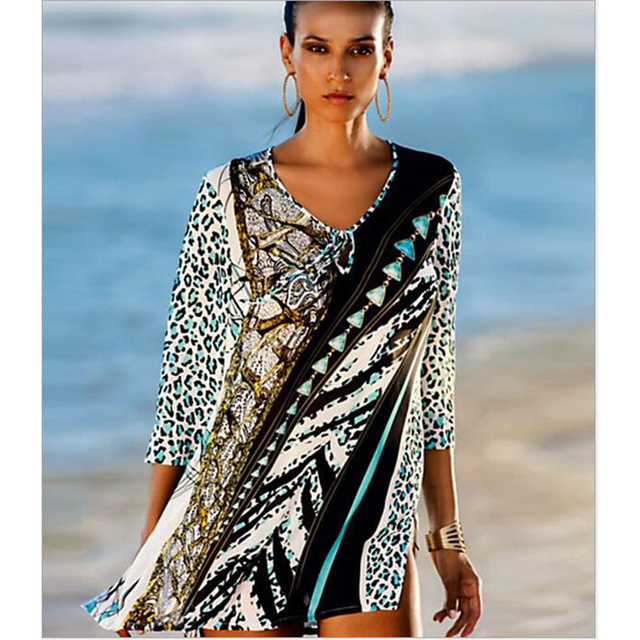 f0b03bf155 Special Offers Vintage Beach Tunics 2018 New Women Beach Cover Up Dress  Leopard Printed Cover-