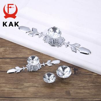 KAK luksusowe diamentowe kryształowe uchwyty Shoebox uchwyty do szafek drzwi szafy gałki do szuflady szafa ciągnie ściągacze ze śrubami sprzęt tanie i dobre opinie Obróbka metali Szkło kryształowe KAK-6712 Meble uchwyt i pokrętła Others Nowoczesne Clear Crystal cabinet handle kitchen cupboard pulls etc