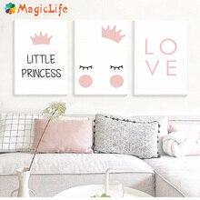 ليتل الأميرة الحضانة الرسم على لوحات القماش الجدارية الشمال المشارك للأطفال غرفة كوادروس جدار صور الديكور غير المؤطرة