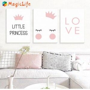 Image 1 - נסיכה קטנה משתלת קיר אמנות בד ציור נורדי פוסטר לילדים חדר Cuadros קיר תמונות קישוט ממוסגר