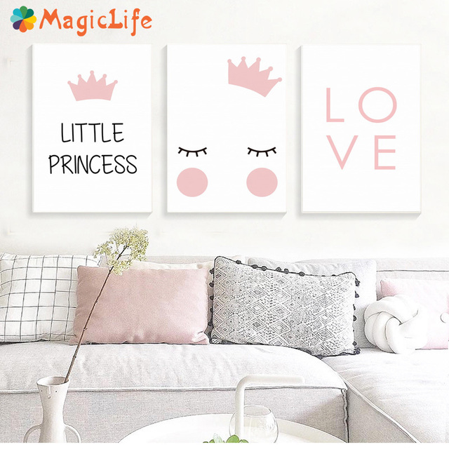 נסיכה קטנה משתלת קיר אמנות בד ציור נורדי פוסטר לילדים חדר Cuadros קיר תמונות קישוט ממוסגר