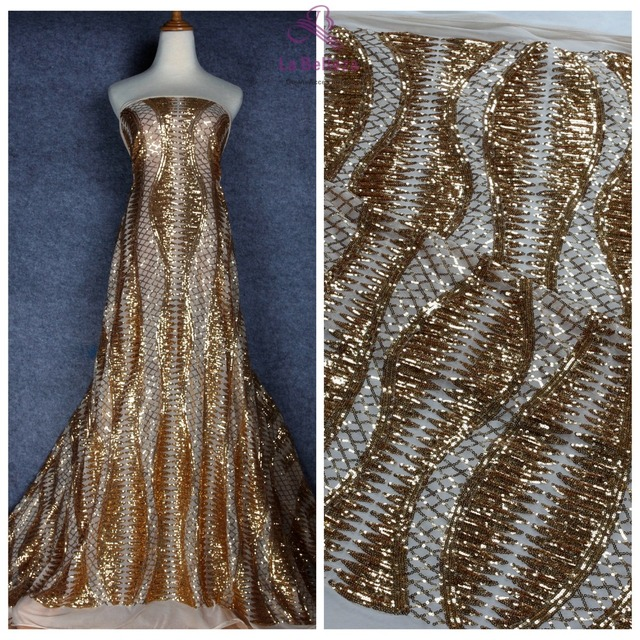17e5b167135 La Belleza 1 yard gold green black sequins on stretch mesh embroidered  wedding dress evening dress lace fabric 51   width