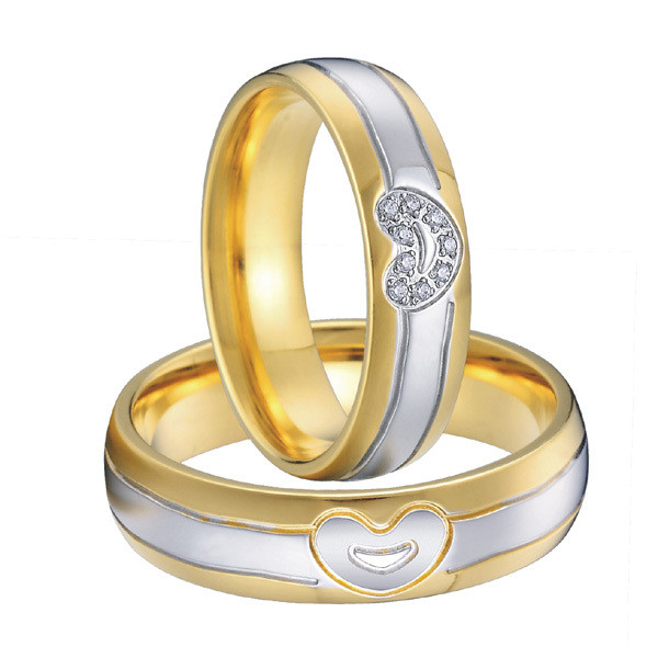 forever love heart ring for men and women gold color wedding band