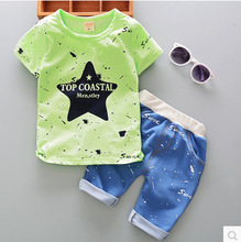 New summer boy suit 0-1-2-3-4-5 years old male baby infant children summer clothes two-piece cartoon cute short-sleeved suit стоимость