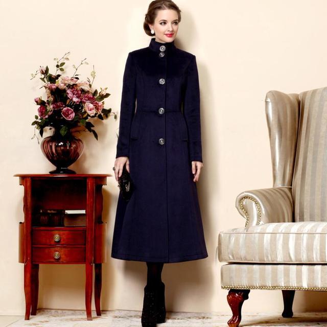 2017 Зимняя шерсть траншеи случайный британский стиль пальто женщины однобортный длинный дизайн кашемир пальто