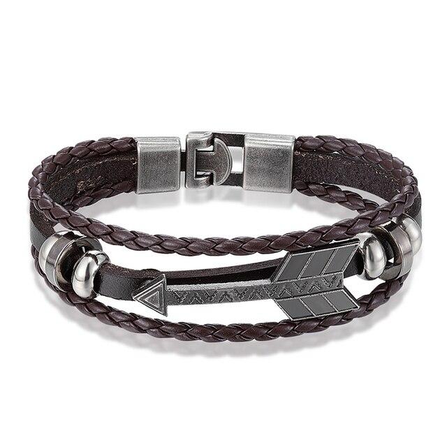 Janeyacy Vintage Anchor Bracelet Black Leather Charm Bracelets Men Jewelry Party Gift