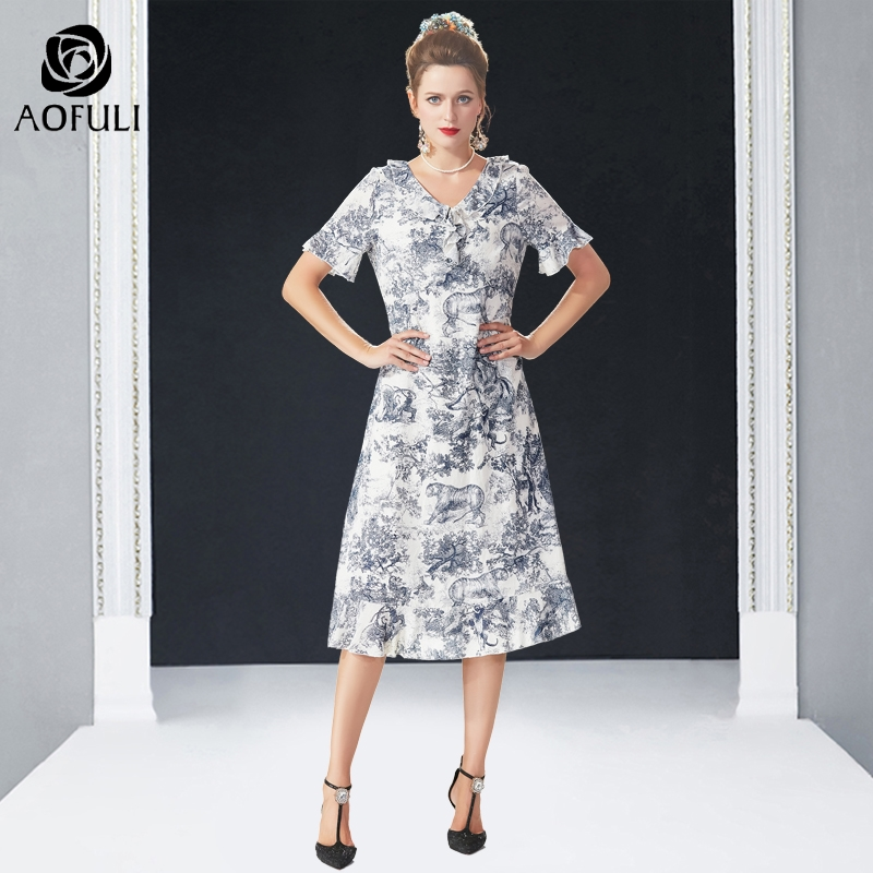 AOFULI L 4XL 5XL Forest tiger printed summer cotton dress Ruffle plus size women short flare