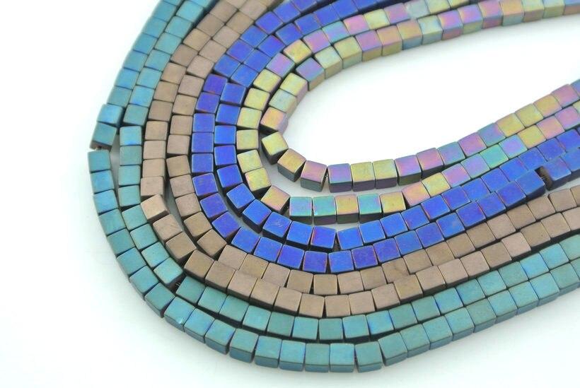 10 шт. синий коричневый Цвет покрытием Cube Форма гематита Бусины 4x4 мм Cube ювелирных изделий Бусины