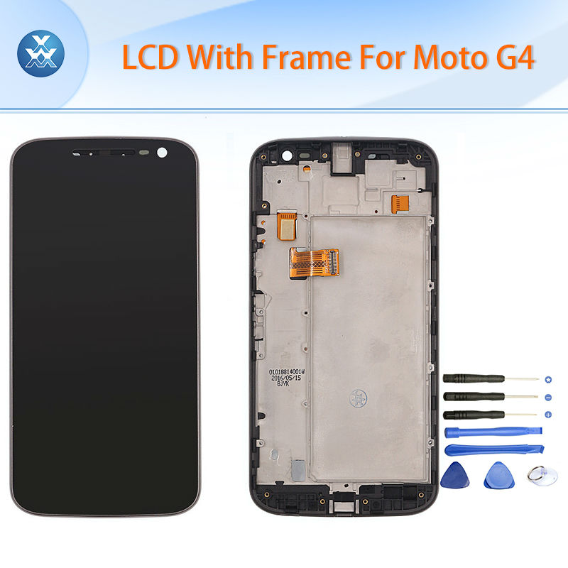 5.5 Original LCD screen for Motorola Moto G4 LCD display touch panel digitizer frame complete assembly G 4 XT1622 XT1625 black new original lcd replacements for motorola moto g xt1032 xt1033 lcd display touch digitizer screen with frame assembly tools