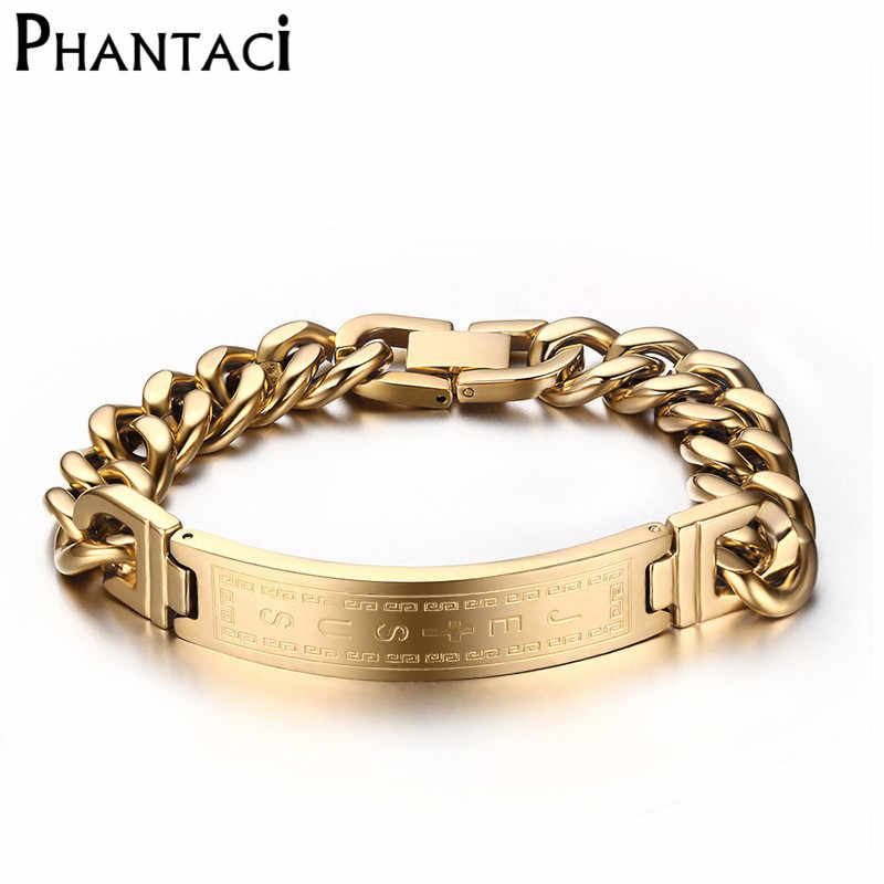 High Quantity 316L Stainless Steel Punk Bracelet Jesus Cross Silver Gold Color Chain Charm Bracelets For Men Fine Jewelry
