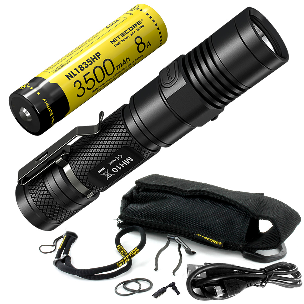 Top Sales NITECORE MH10 1000 Lumens U2 LED Outdoor Rechargeable Portable Flashlight USB Charge Cable 18650 Battery Free Shipping цена