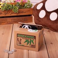 Alta Qualidade Panda Criativo Caixas de Dinheiro Automático Eletrônico Roubou Dinheiro Moeda Piggy Caixa de Poupança do Banco Mealheiro Para Crianças dos miúdos