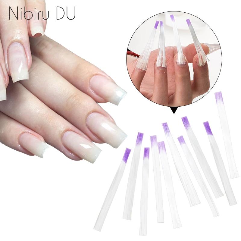 10 pcs/pack Fiberglass for Nail Extension  Form Acrylic Salon Tool Curvature clip Glass Fiber Silk