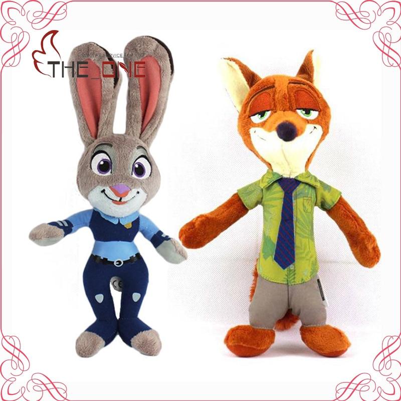 Kids Cartoon Zootopia Plush Stuffed Toys Nick Fox Judy Rabbit <font><b>Figure</b></font> Dolls 28cm Baby Kawaii Cotton Gift T005