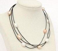 Elegant Handmade Real Pearl Jewelry 16 18 3 Rows White Pink Purple Cultured Freshwater Pearl Black