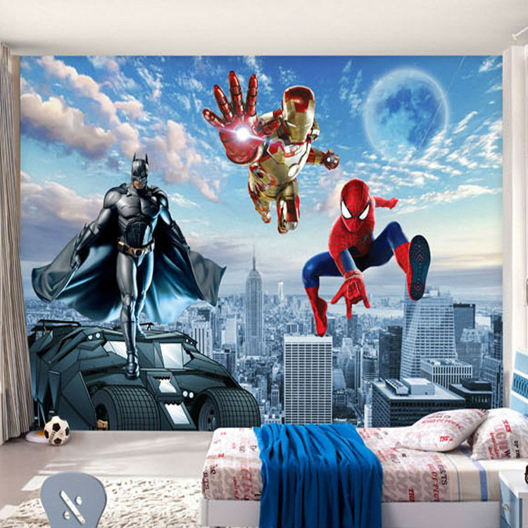 Spiderman Wallpaper For Bedroom: Custom 3D Photo Wallpaper Batman Iron Man Wallpaper Spider