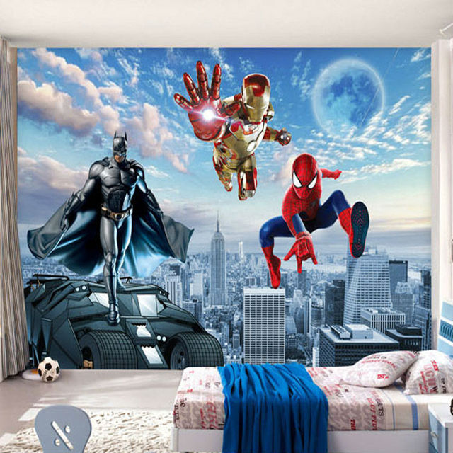 Custom 3d photo wallpaper batman iron man wallpaper spider for Boys mural wallpaper