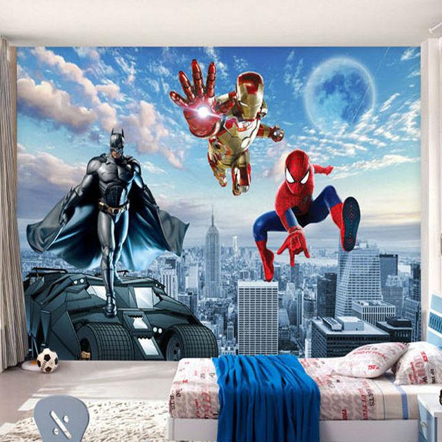 Custom 3D Photo wallpaper Batman Iron Man Wallpaper Spider Man Wall Murals  Boys Bedroom Living room. Custom 3D Photo wallpaper Batman Iron Man Wallpaper Spider Man