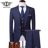 Plyesxale Brand Three Piece Suits Men Latest Fashion Suits For Men Slim Fit Man Wedding Suit Blue Grey Jacket Pants Vest Q184