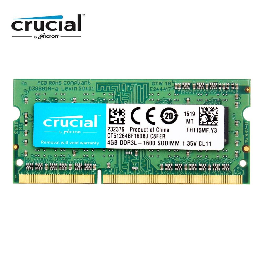 Crucial RAM DDR3 4GB 8GB DDR3L 1600HMZ 1333MHZ 1066MHZ 2GB 8 GB PC3L 12800S 1.35V for laptop SDRAM