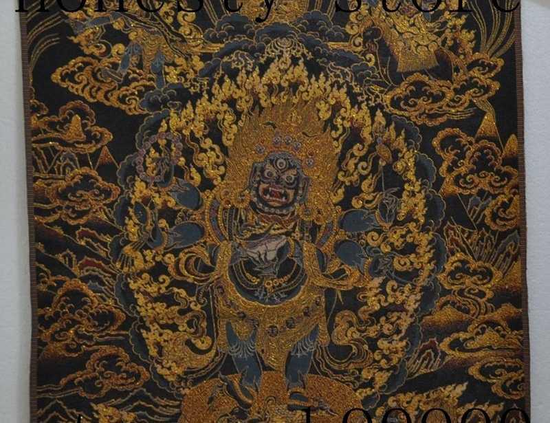 "35 ""Tibet buddhisme Art Tangka Sutra Bordir 6 arm Mahakala Patung buddha allah"