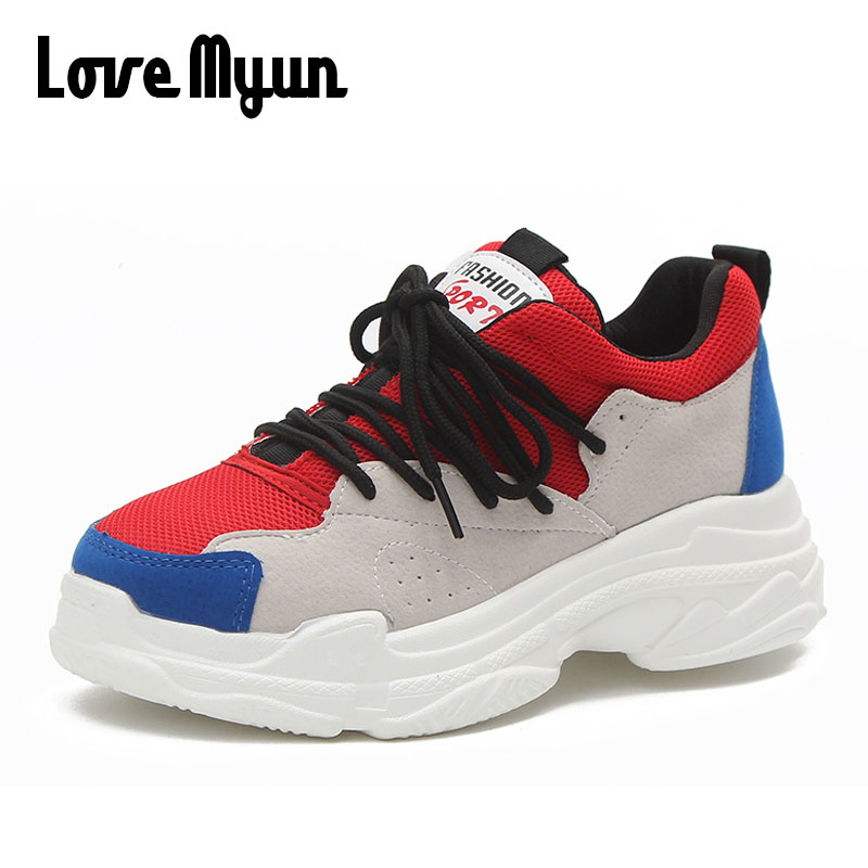 2018 Spring Women Sneakers Air mesh shoes Lace Up Platform Breathable Soft Flats shoes Female Casual Ladies Shoes SB-28 glowing sneakers usb charging shoes lights up colorful led kids luminous sneakers glowing sneakers black led shoes for boys