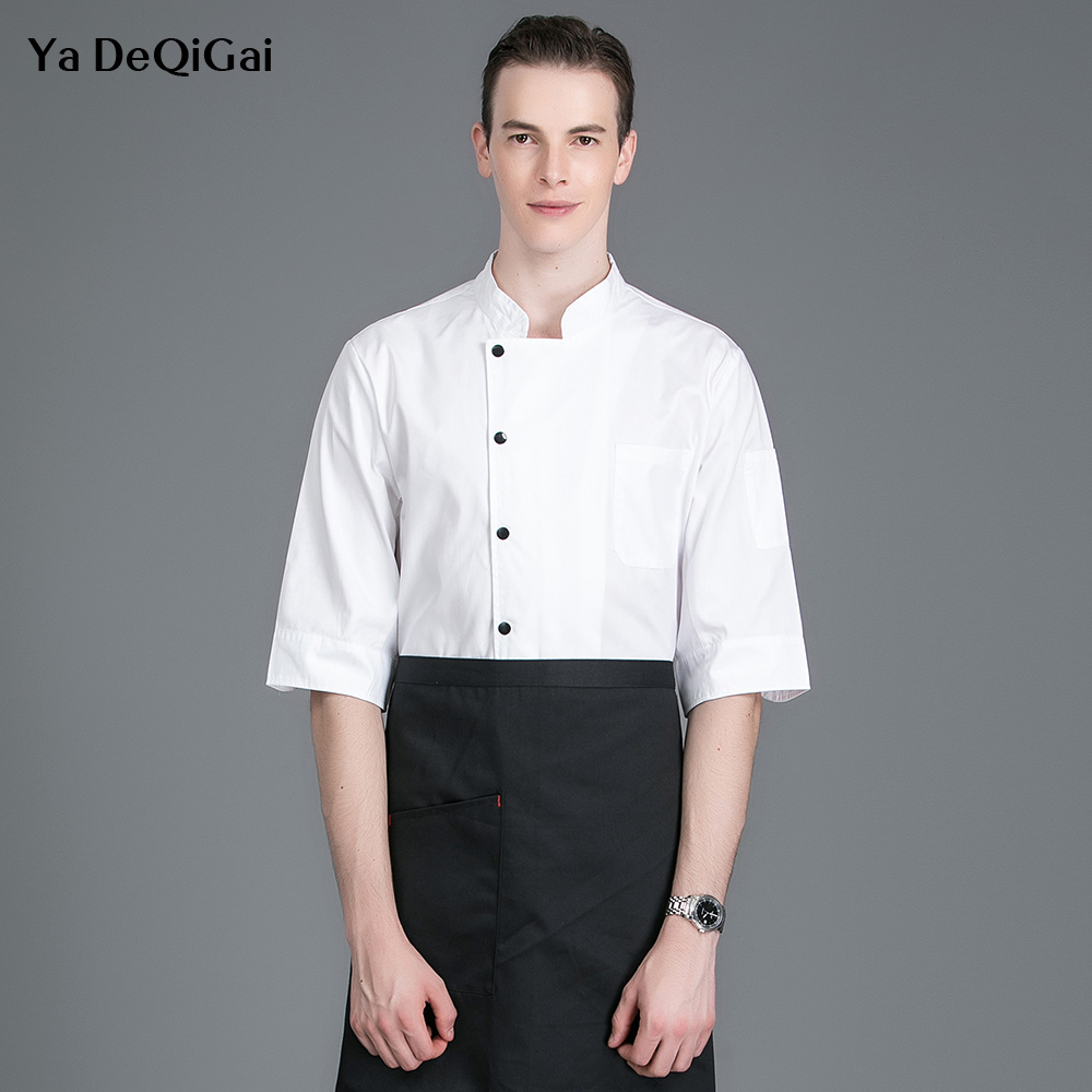 Short Sleeved Kitchen Work Clothes Hotel Restaurant Chef Uniforms Men's Professional Clothing Catering Cook Shirt Sushi Costume