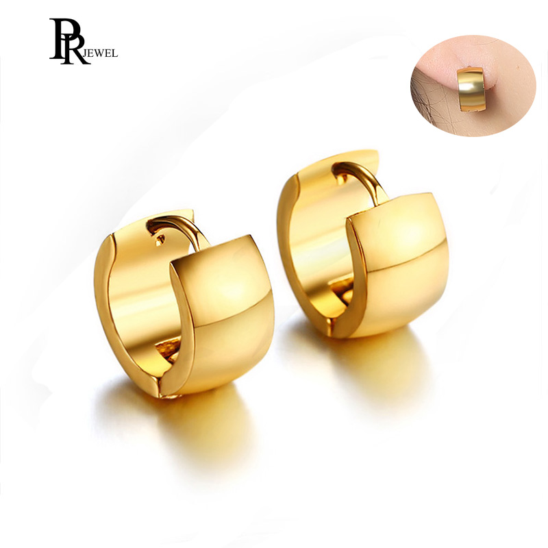 Gold Tone Stainless Steel Hoop Earrings for Women Man Simple 7mm Wide Punk Style Small Earrings Jewelry