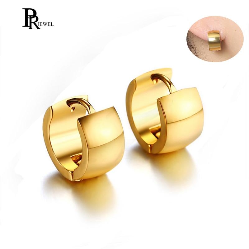 Gold Tone Stainless Steel Hoop Earrings for Women Man Simple 7mm Wide Punk Style Small Earrings Jewelry