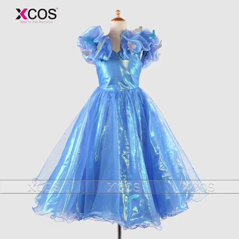 Cinderella-Prom-Dress-Children-Handmade-Butterfly-Ball-Gown-Blue-2016-Real-Sample-Flower-Girls-Pageant-Dresses