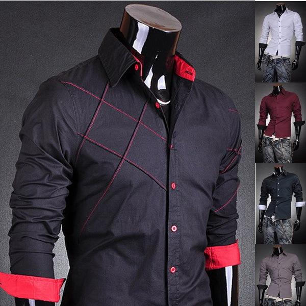 2016 El Nuevo listado Para Hombre Famoso Diseñador Solid Raya Cómodo Elegante de Moda Masculina Camisa de Vestir 6 Colores 5 Tamaños 2028