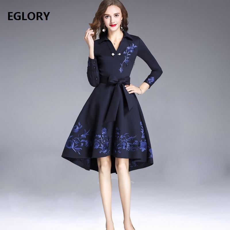 Haute qualité coton robe 2018 automne hiver fête balançoire robe femmes v-cou luxueux broderie arc ceinture bleu foncé robe XXXL