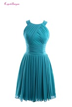 Real Photo Blue Chiffon Sleeveless O Neck A Line Evening Dress 2017 Custom made Pleat Knee Lenghth Short Prom Gown Robe de festa