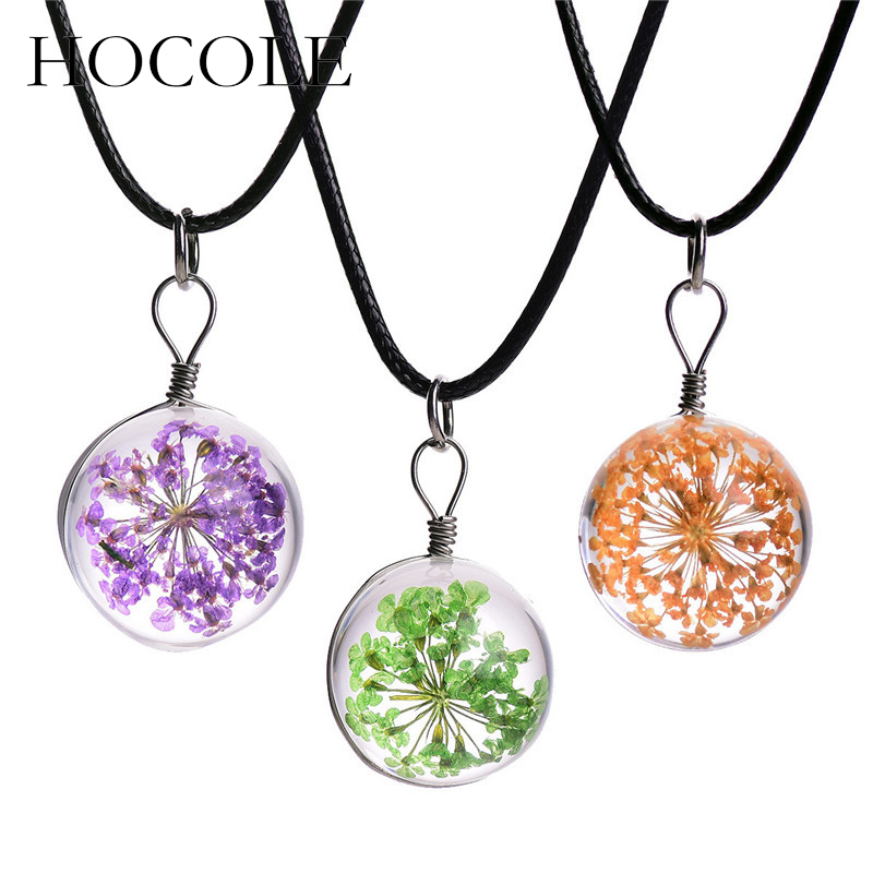 HOCOLE Handmade Dried Flower Pendant Necklace Gypsophila Glass Ball Leather Chain Choker Necklaces For Women Statement Jewelry