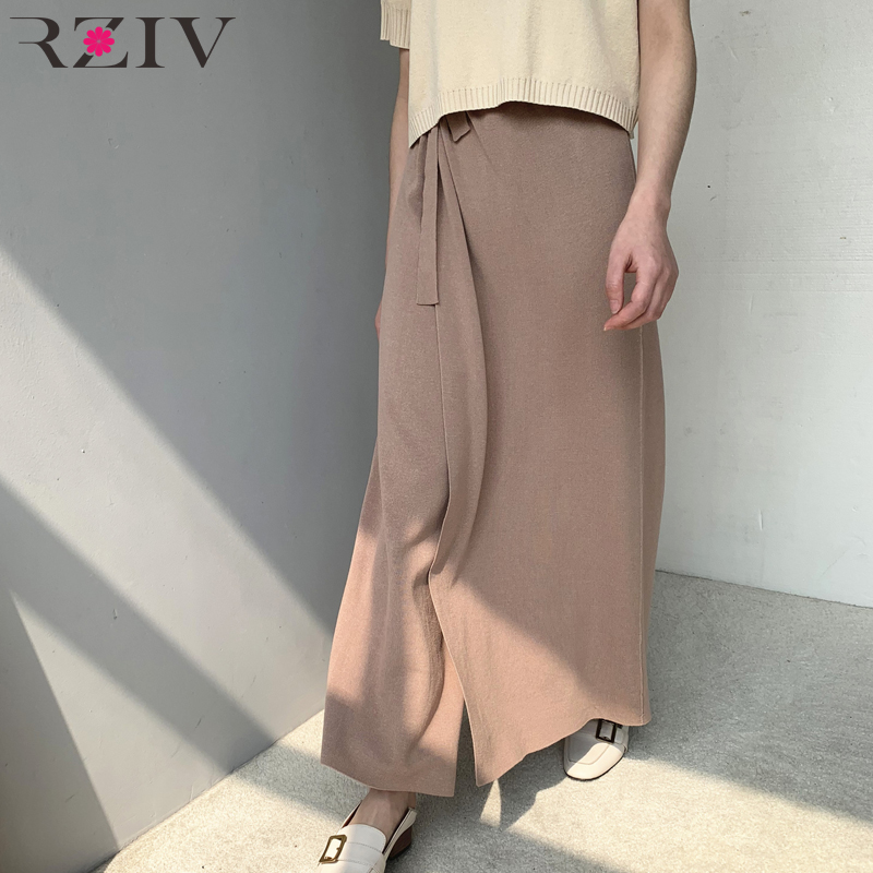 RZIV Summer women loose high waist casual   pants     wide     leg     pants   solid color belt design