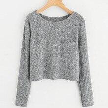 Pocket Sweatshirt Casual solid Blouse Pullover O Neck Fashion Womens streetwear crop top sweatshirt sudadera female TT