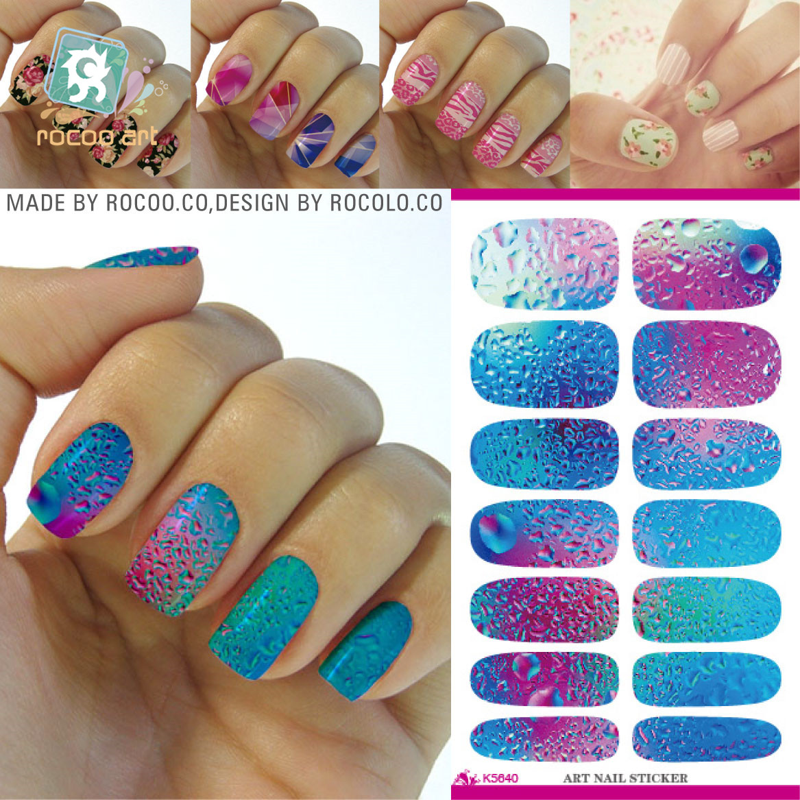 Nail Art Ideas nail art water decal : Rocooart K1 Nail Art Stickers Metallic Water Drops Space Water ...