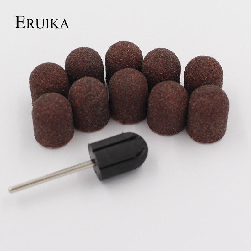 ERUIKA 10 pz 13*19mm Nail Drill bit Fasce di Smeriglitatura Block Tappi di Gomma Presa Mandrino Macchina Fresa per Manicure Strumenti