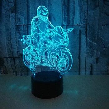 Creativo Modello di Moto Cavalcata Illusion 3d Lampada LED 7 Colori modifica USB Touch Sensor Desk Lampada Da Tavolo USB Luce di Notte