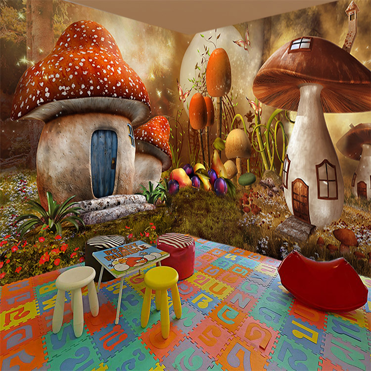 3d photo wallpaper 3d stereo fairy tale forest wallpaper - Mushroom 3d wallpaper free download ...