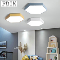 Macaron Color Ceiling lamp Hexagonal Minimalist LED Ceiling Lights Surface Mounted Dimmable For Living room Cafe Home lighting