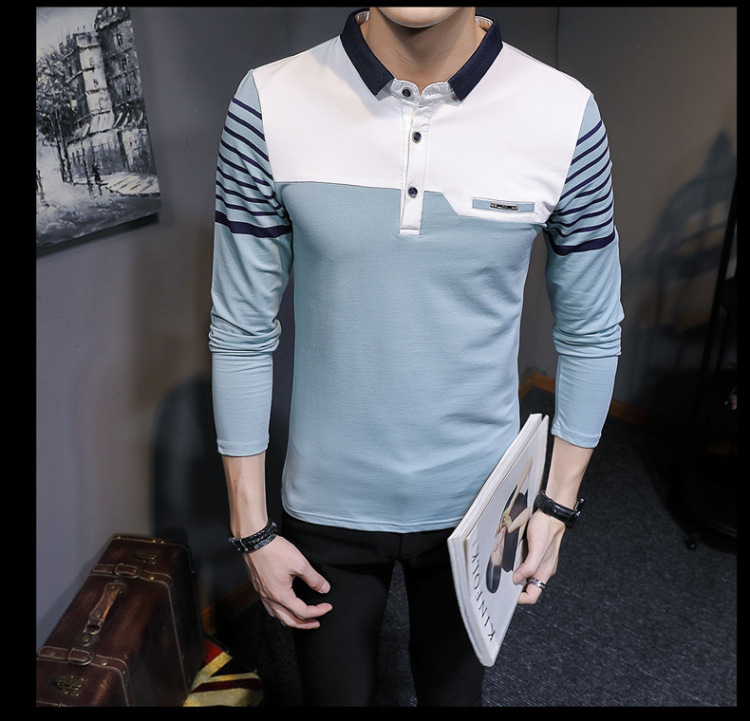 Business Casual Long Sleeve Men Polo Shirt Striped Autumn Winter Polos Cotton Slim Fit Camisa Polo Masculina 78