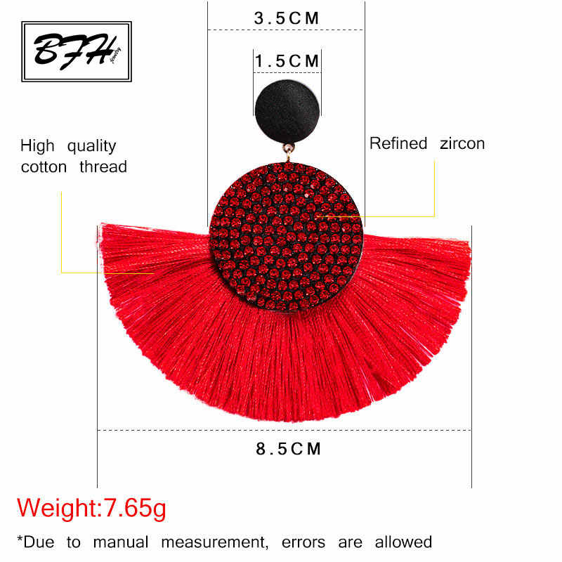 BFH Fashion Bohemian Big Tassel Earrings Statement Red Tassel Vintage Silk Fabric Drop Dangle Earring for Women 2019 Jewelry