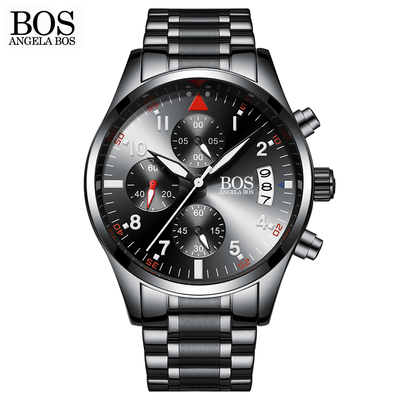 ANGELA BOS Chronograph Timer Fashion Sport Watch Men Quartz Watches Calendar Date Stainless Steel Wristwatches Top brand Luxury hubot elegant classic men s watch dates calendar classical art carved craft design chronograph men sport watches relogios