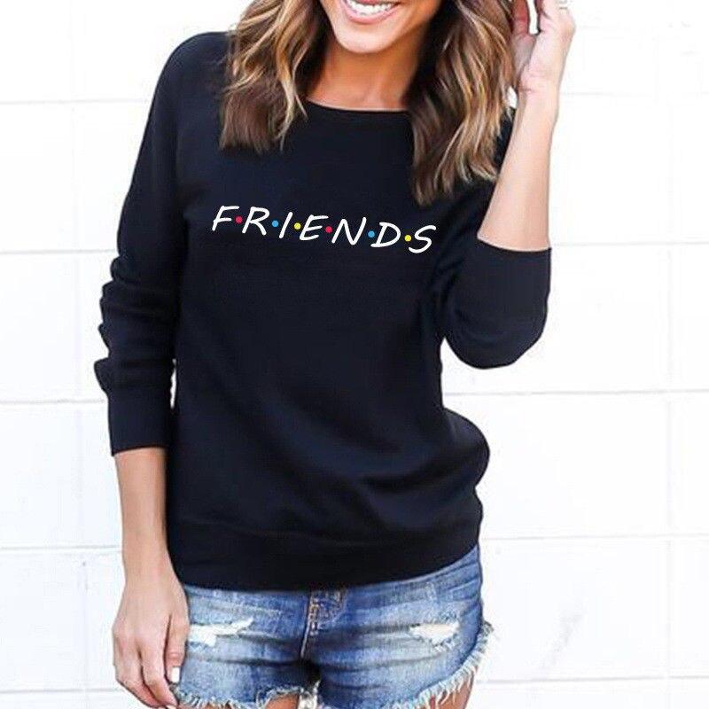 2019 New Women Friends Printed Hoodies Harajuku Sweatshirts Sweats Pullovers Femme Loose Ladies Hoody Outwear Sudaderas Mujer