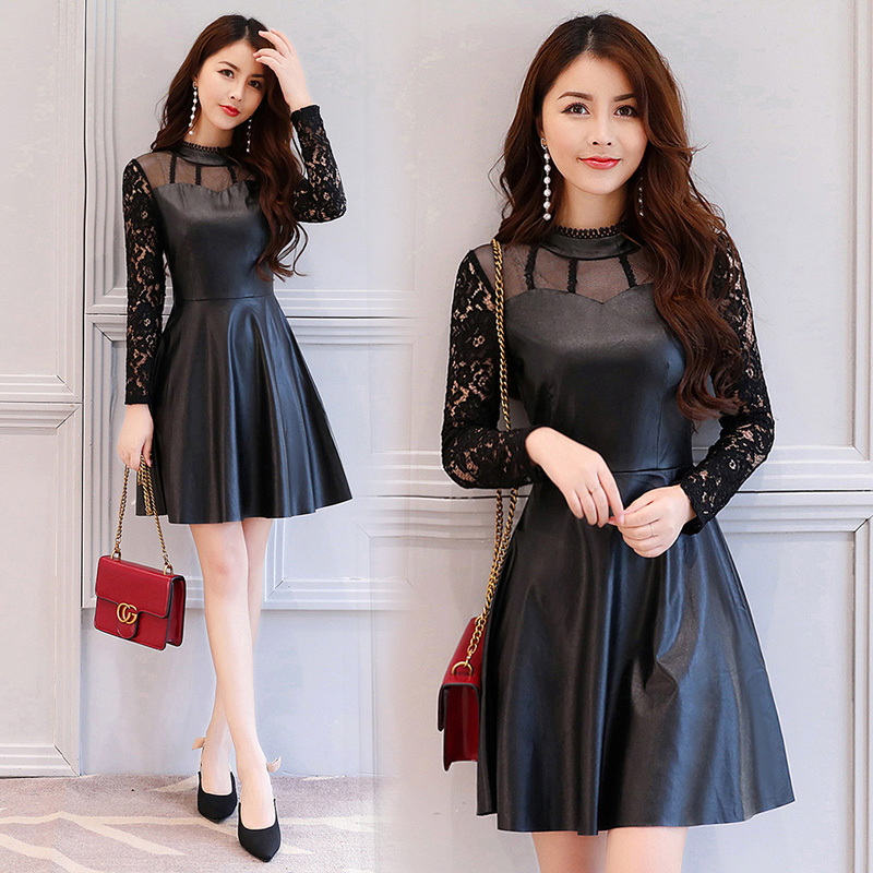 Sexy faux leather mini dress 2017 autumn femme hollow lace patchwork black dress overall pleated dresses woman long sleeve hot