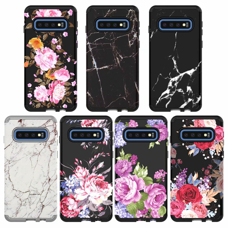 Marble Flower Shockproof Case For Samsung Galaxy S10 S10e S10 Plus Armor Hybrid Beetle Defender Hard