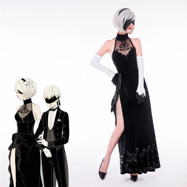 NieR:Automata Cosplay Costume 2B Cheongsam Dress 9S Suit Evening Dress  Costme YoRHa Fancy Dress